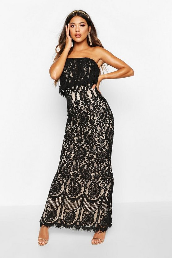 Boutique Val Scallop Lace Bandeau Maxi Dress