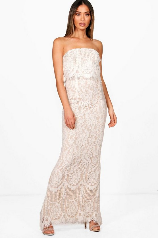 Boutique Scallop Lace Bandeau Maxi Dress