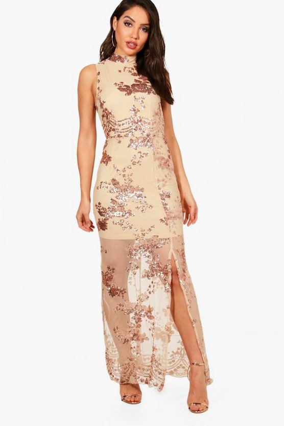 Boutique Camy Sequin Mesh Maxi Dress