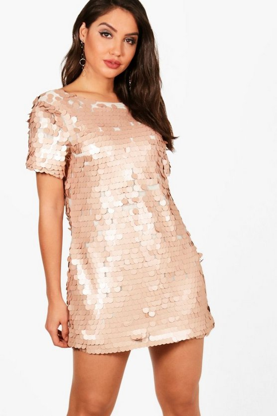 Boutique Daisy Sequin Scoop Back Shift Dress