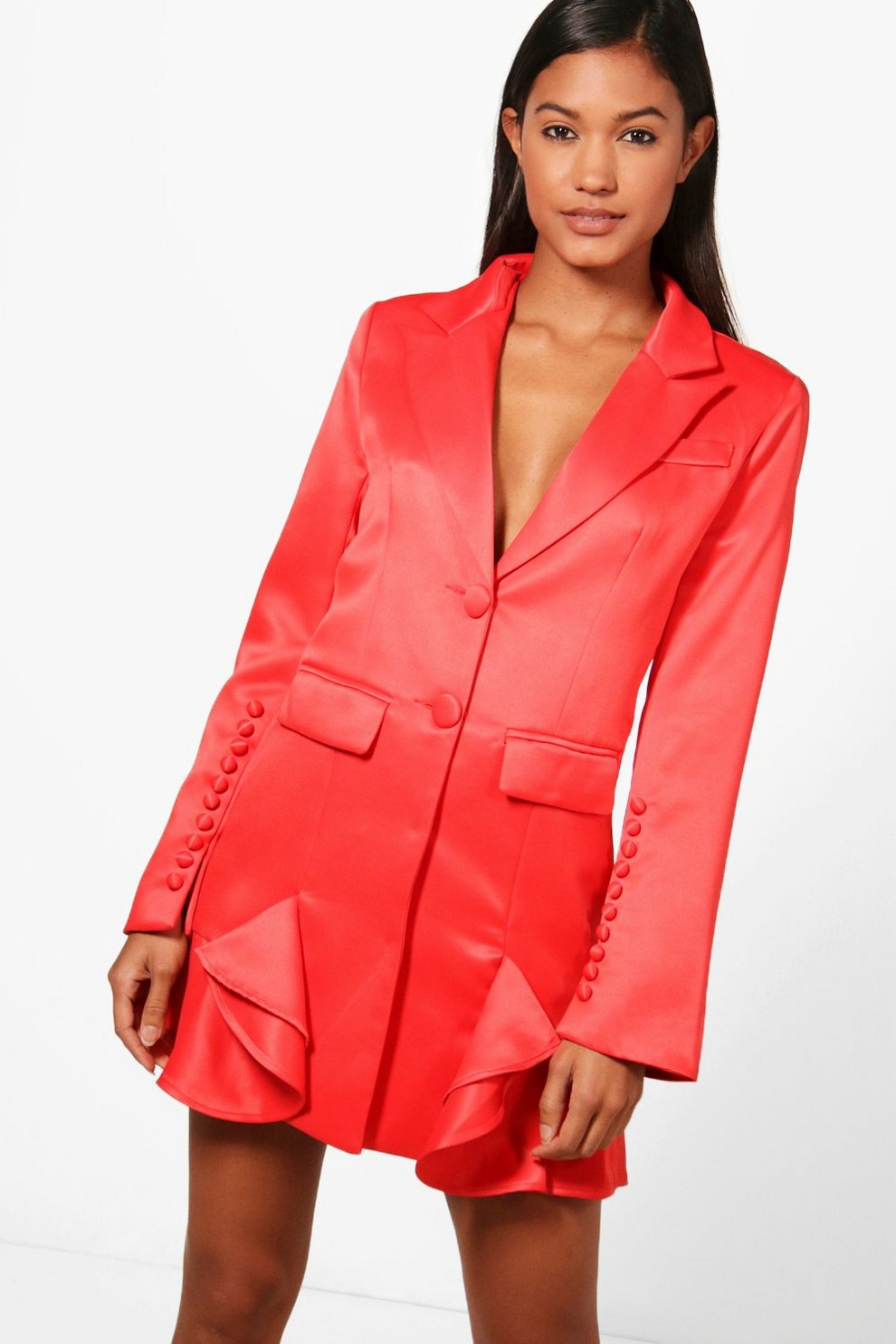 Boohoo Boutqiue Frill Hem Detail Blazer Dress Clearance Pictures Buy Cheap Newest Sale Store Cheap Sale Online Authentic Cheap Price 8p90o3qGp