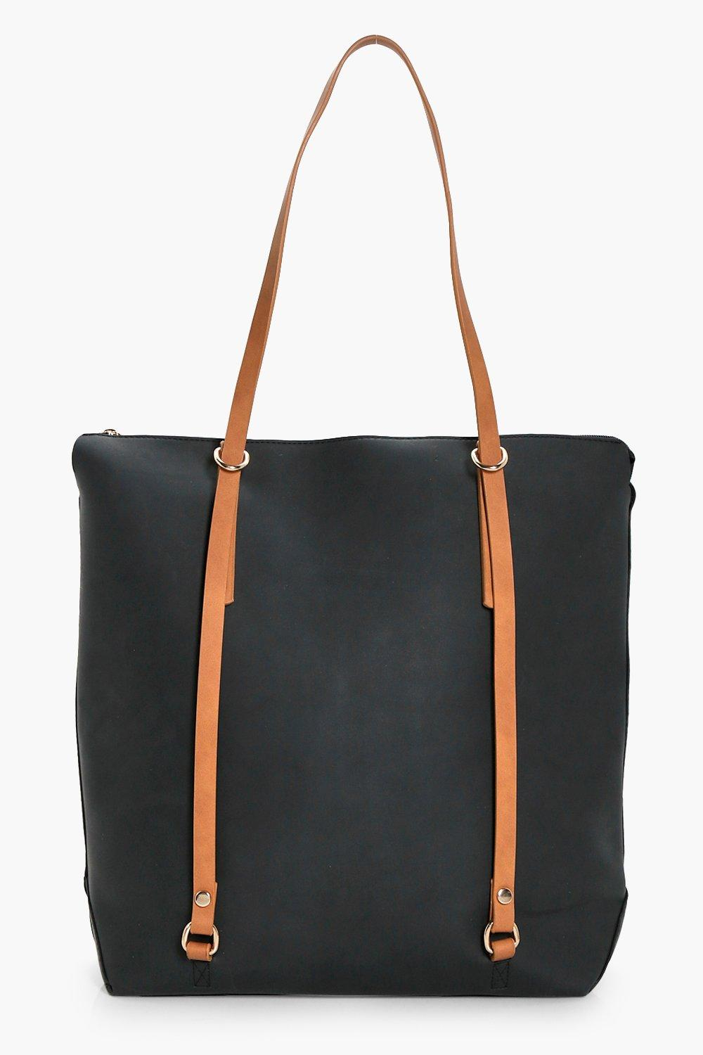 Contrast Handle Shopper - black - Emily Contrast H