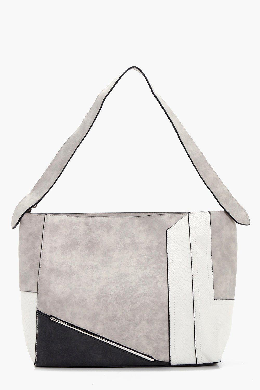 Multi Panel Tote - grey - Millie Multi Panel Tote