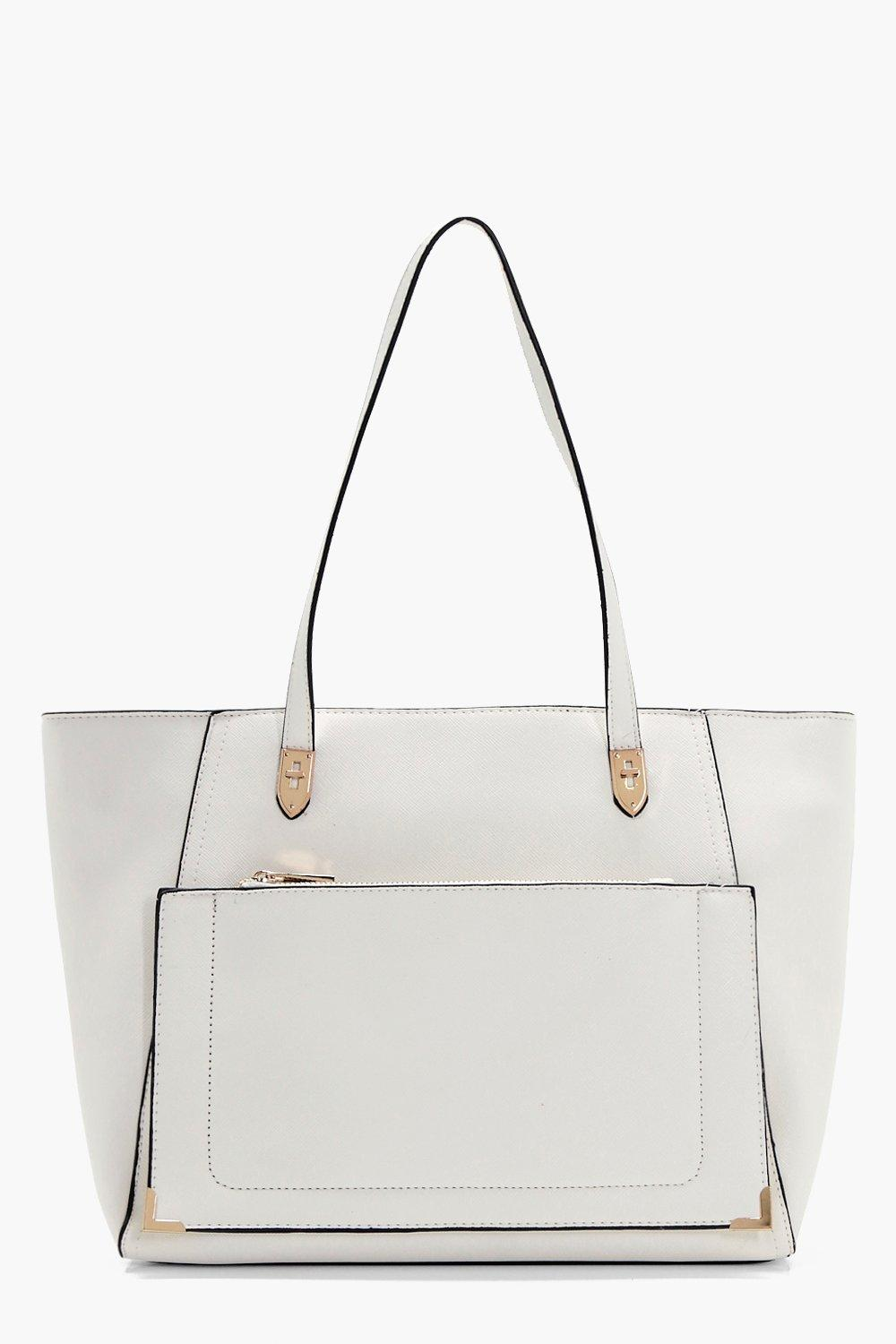 Front Pocket Tote - cream - Maysie Front Pocket To