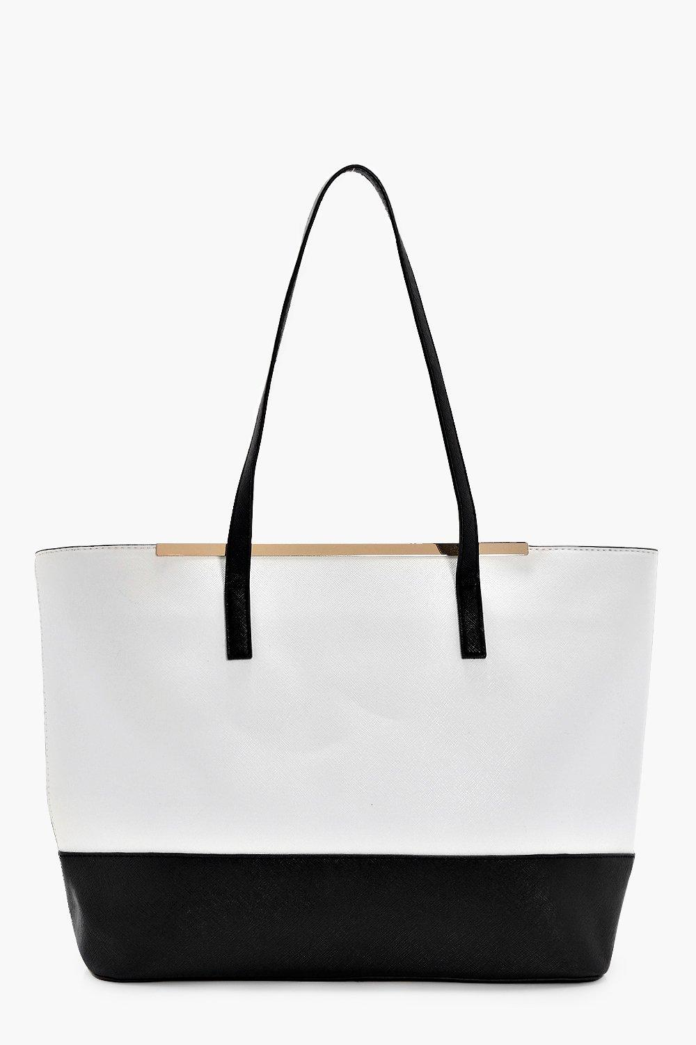 Mono Shopper Tote - white - Ella Mono Shopper Tote