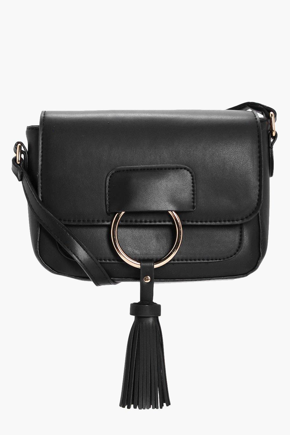 Ring And Tassel Cross Body - black - Abigail Ring