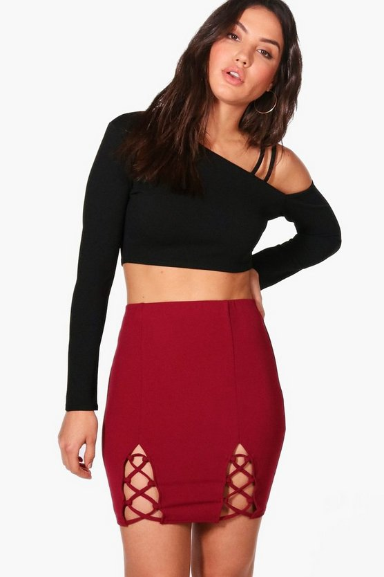 Lace Up Front Crepe Mini Skirt