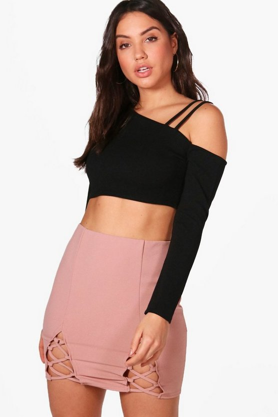 Rosie Lace Up Front Crepe Mini Skirt