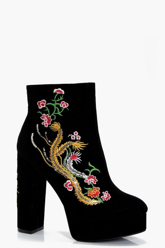 Kerry Embroidered Dragon Platform Shoe Boots