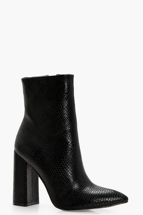 Shelley Snake Detail Pointed Shoe Boot