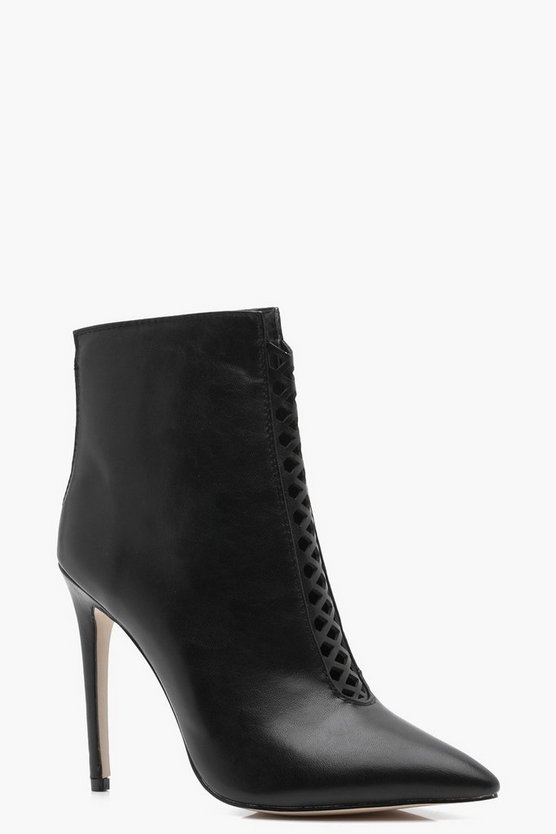 Fiona Pointed Stilletto Shoe Boots With Ladder Detail