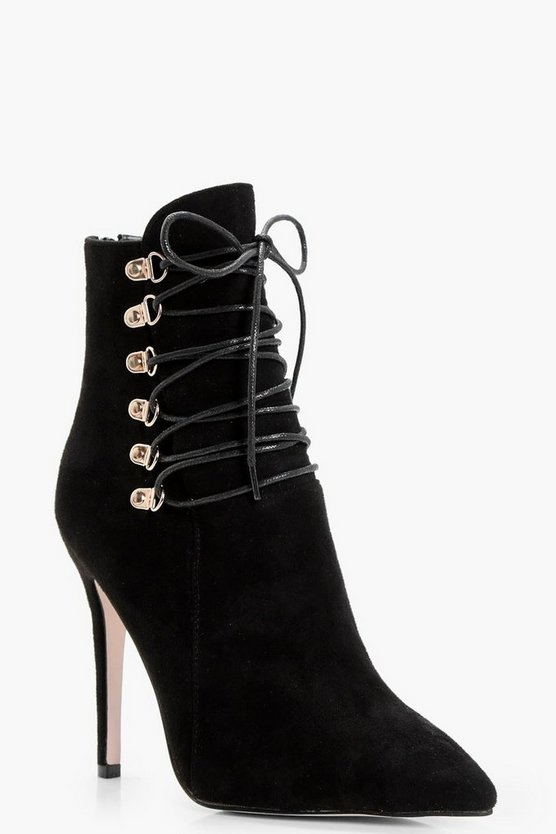 Amy Pointed Stilletto Shoe Boot With Wrap Up Detail