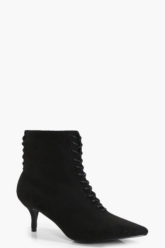 Flo Low Heel Lace Up Front & Back Pointed Boots