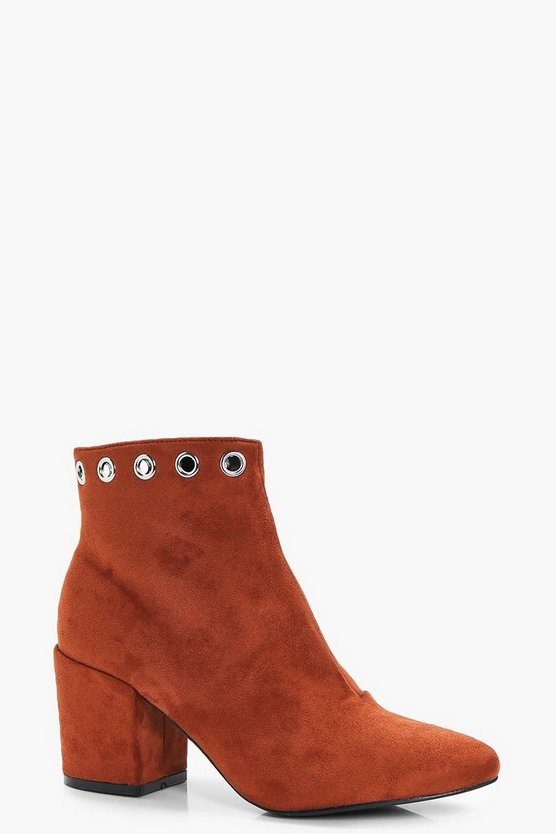 Jen Eyelet Detail Block Heel Ankle Boot