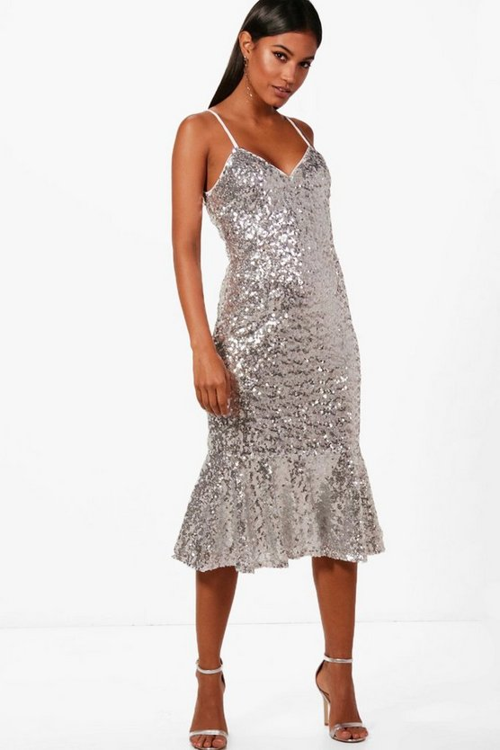Boutique Sequin Frill Hem Midi Dress