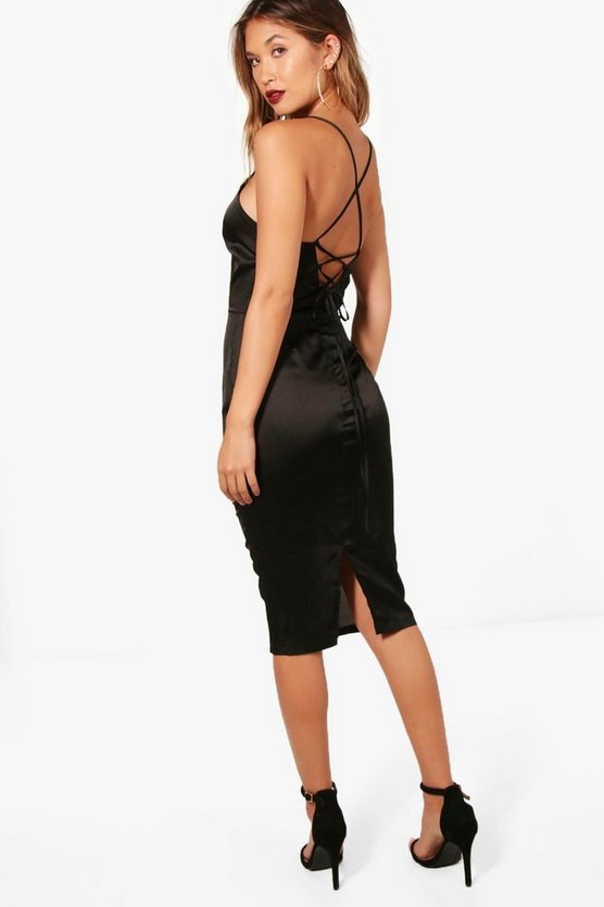 Izzy Satin Strappy Back Plunge Midi Dress