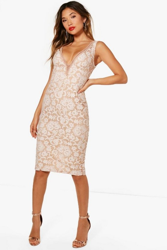 Boutique Fi Lace Off the Shoulder Midi Dress
