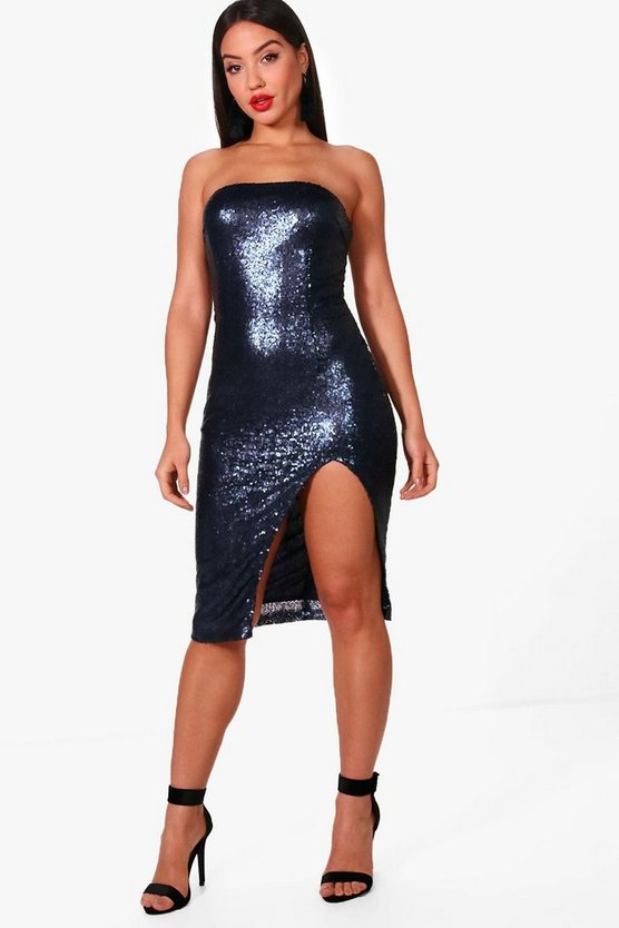 Tanya Sequin Bandeau Split Detail Midi Dress