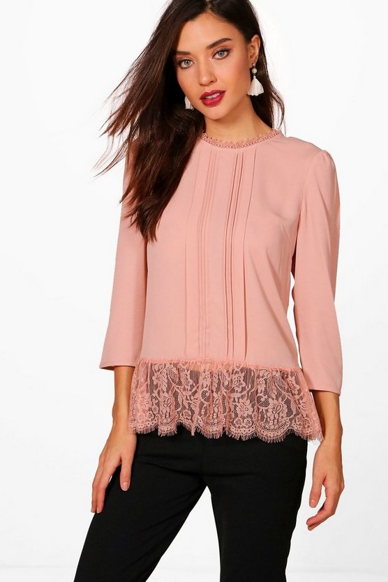 Abigail Eyelash Lace Trim Blouse
