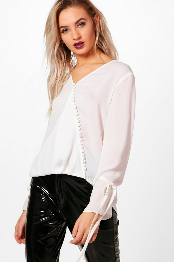 Button Detail Tie Sleeve Blouse