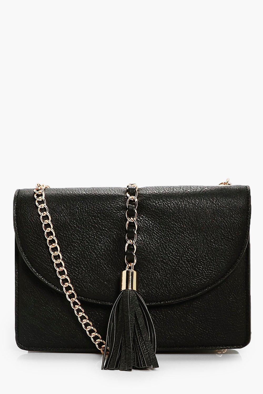 Chain & Tassel Cross Body Bag - black - Lucy Chain
