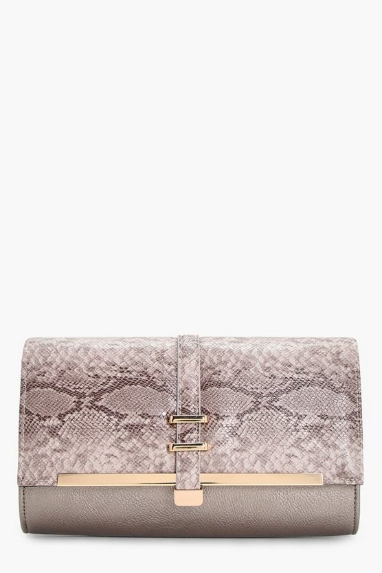 Steph Schlangen-Print & Bar Clutch mit