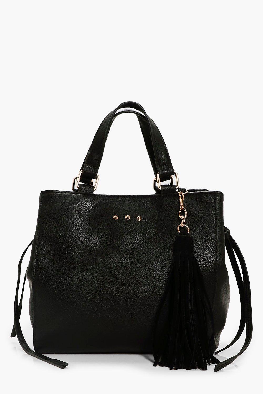 Large Tassel Daybag - black - Lucy Large Tassel Da