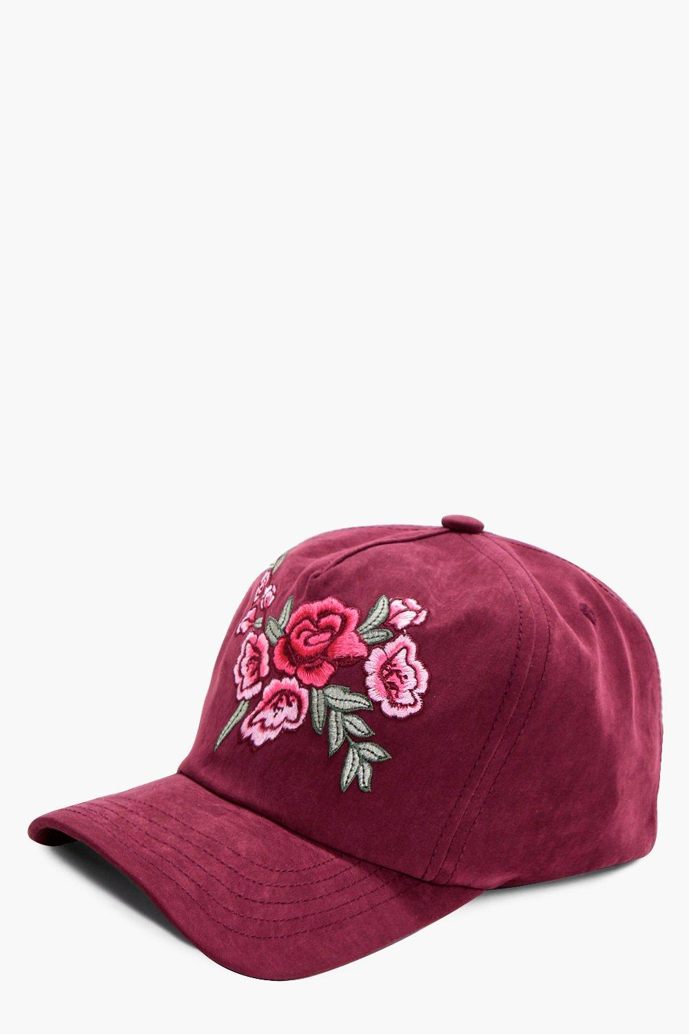 Embroidery Suedette Cap - burgundy - Emma Embroide