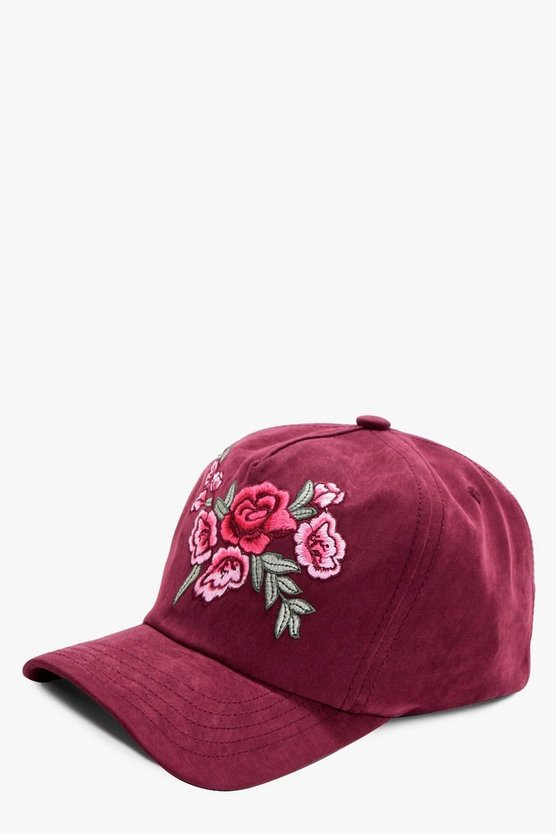 Emma Embroidery Suedette Cap