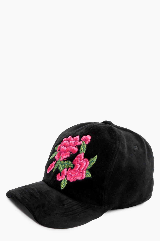 Embroidery Suedette Cap - black - Rachel Embroider