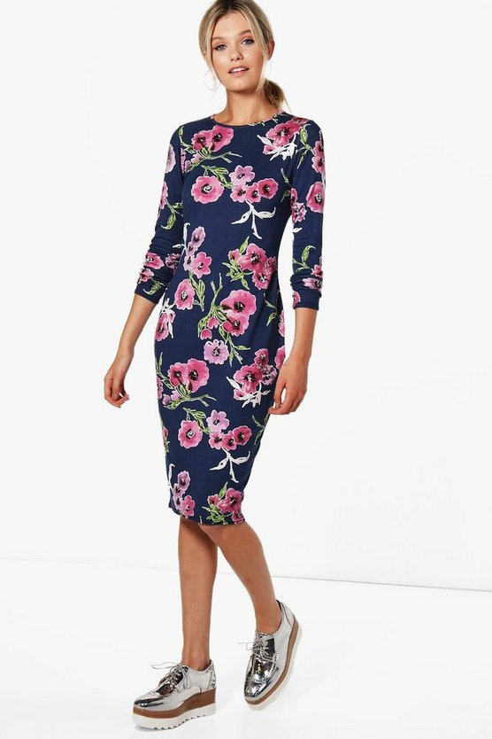 Kira Floral Long Sleeve Bodycon Dress
