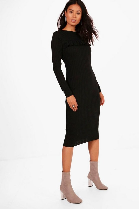 Joanna Ribbed Frill Bodycon Midi Dress