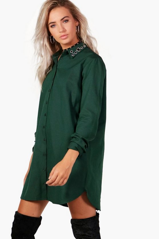Hannah Eyelet Detail Shirt Dress