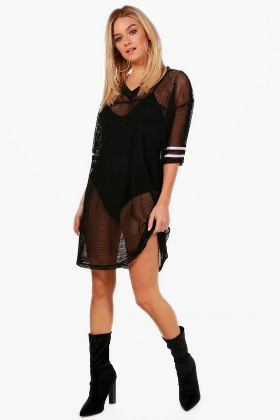 Baseball Mesh Oversized T-Shirt Dress