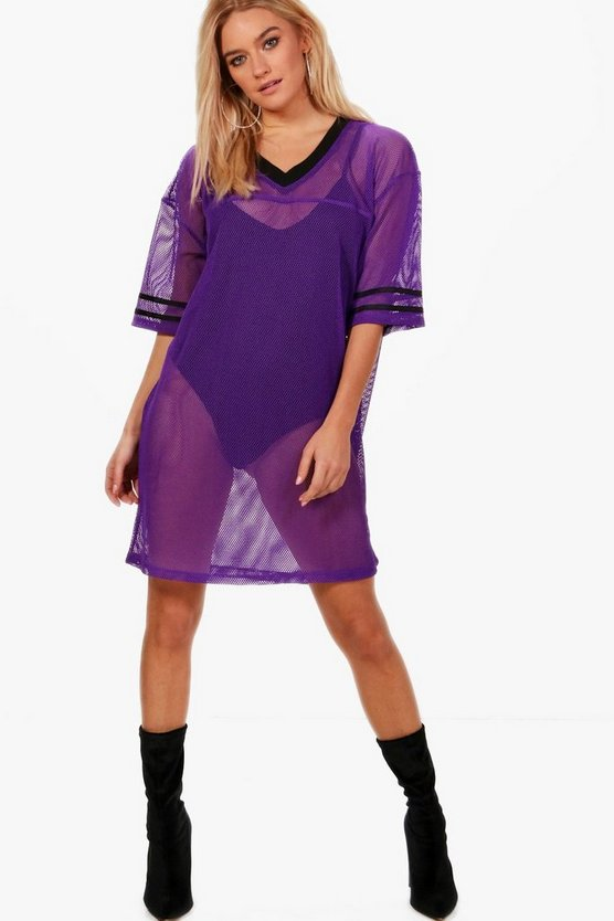Millie Baseball Mesh Oversized T-Shirt Dress