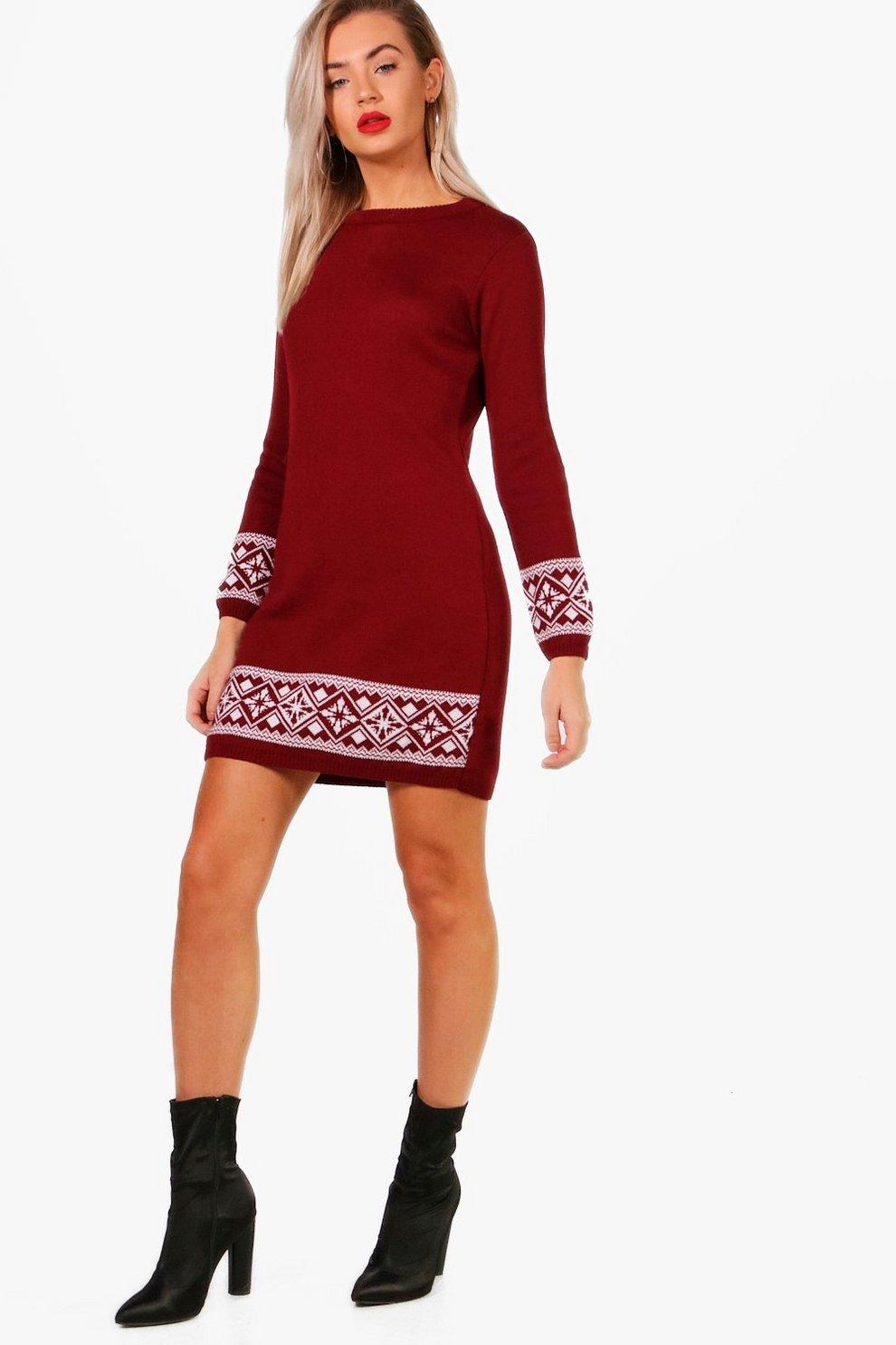 Camilla Fairisle Christmas Jumper Dress | Boohoo