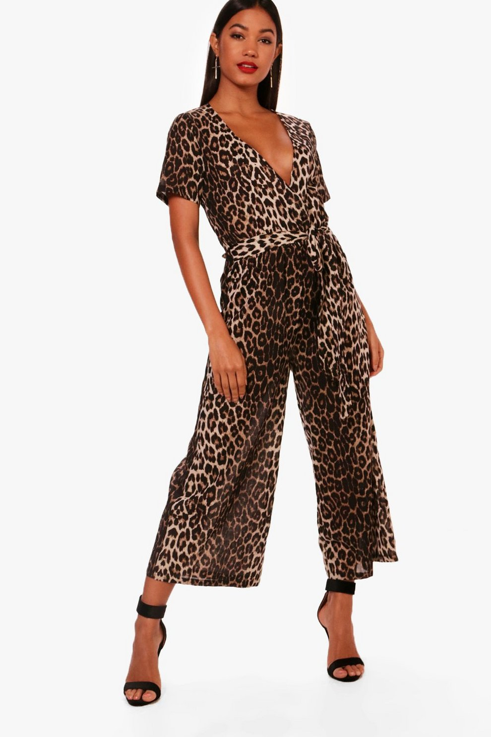 Best For Sale Cheap Visit New Boohoo Cut Front Leopard Jumpsuit Footlocker Finishline Cheap Online Manchester Cheap Online 3oR9zDaNd0