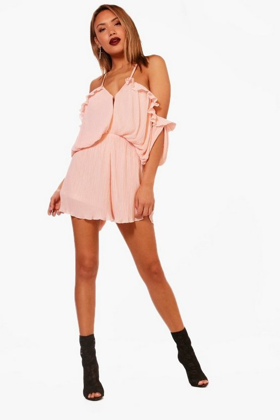 Alison All Over Pleated Cold Shoulder Playsuit