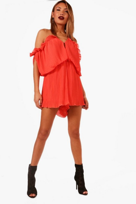 All Over Pleated Cold Shoulder Playsuit