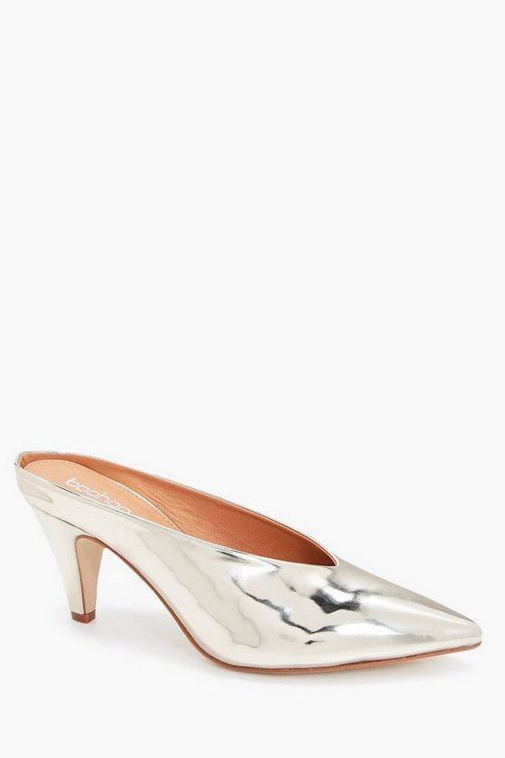 Jessica Metallic Pointed Kitten Mules