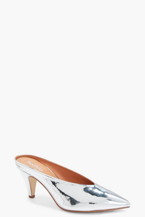 Metallic Pointed Kitten Mules