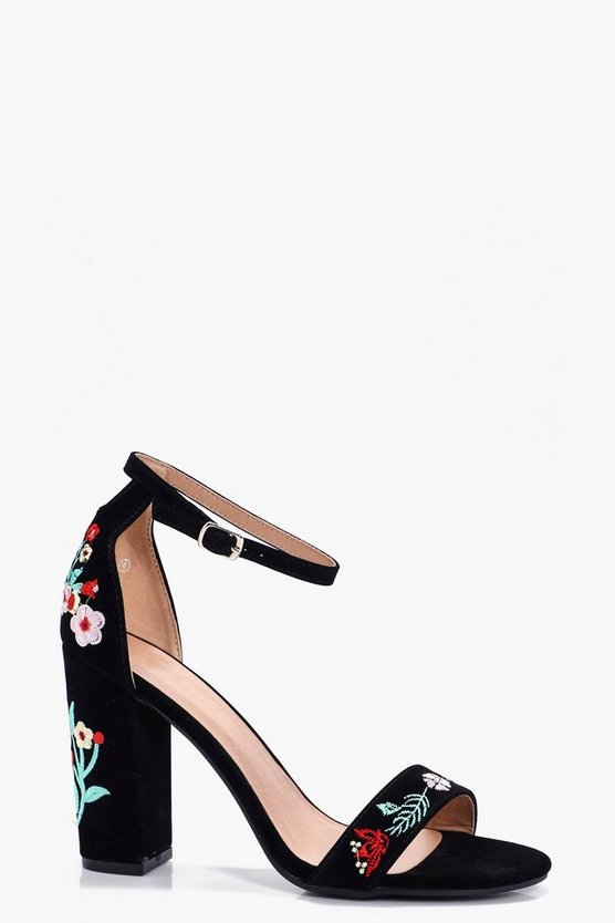 Poppy Embroidered Block Heels
