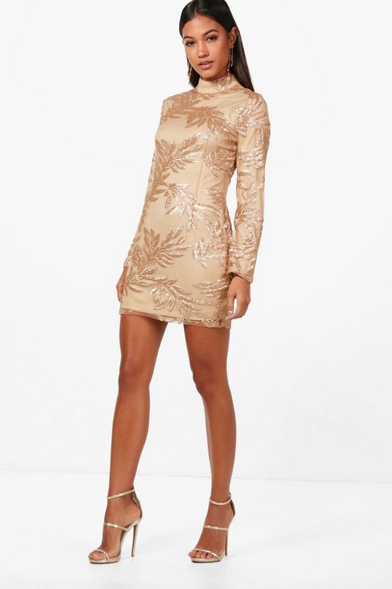 Boutique Lisa Sequin Print Bodycon Dress