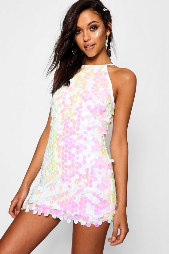 Boutique Jody Irredescent Disc Sequin Dress