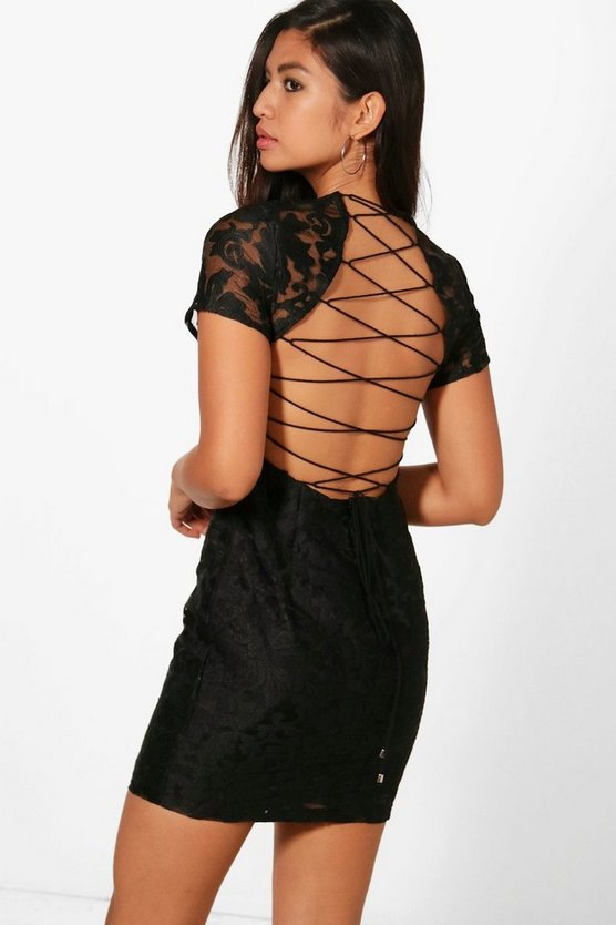 Evie Embroidered Open Back Bodycon Dress