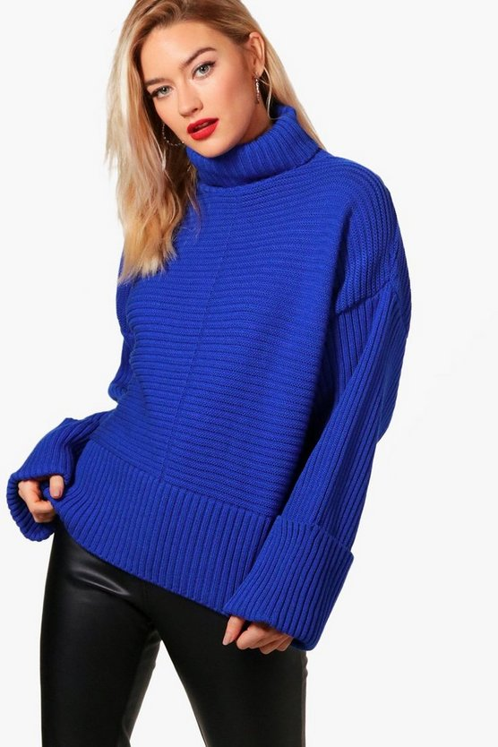 Roll Neck Rib Knit Maxi Sleeve Jumper