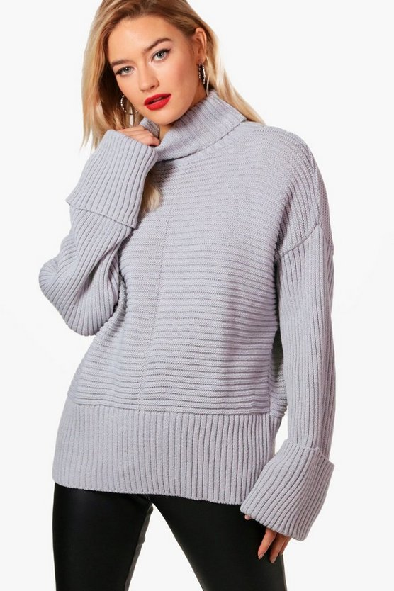 Simone Roll Neck Rib Knit Maxi Sleeve Jumper