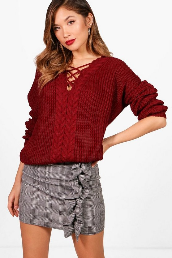 Stephanie Lace Up Cable Detail Jumper