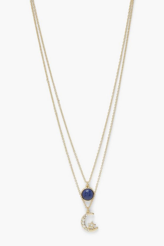 Megan Layered Moon And Circle Necklace