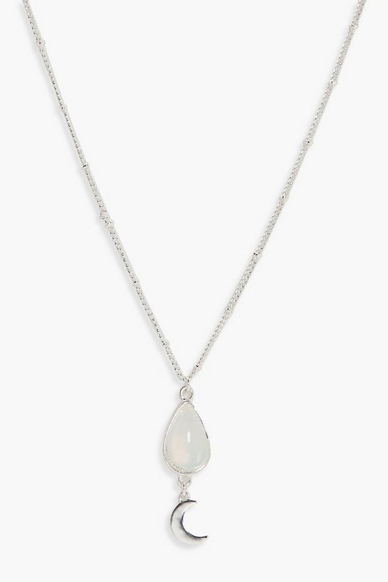 Hannah Opal And Moon Charm Skinny Necklace